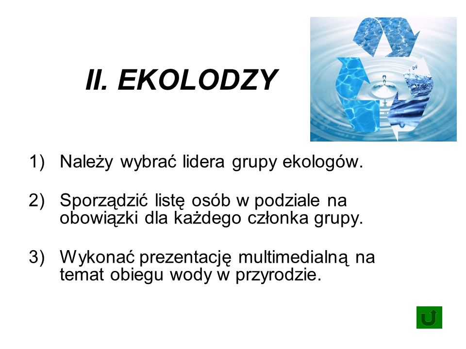 II. EKOLODZY 1)Należy wybrać lidera grupy ekologów.