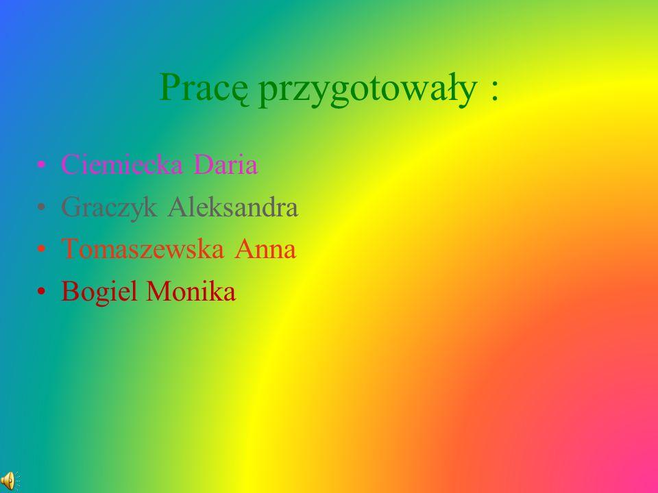 Pracę przygotowały : Ciemiecka Daria Graczyk Aleksandra Tomaszewska Anna Bogiel Monika