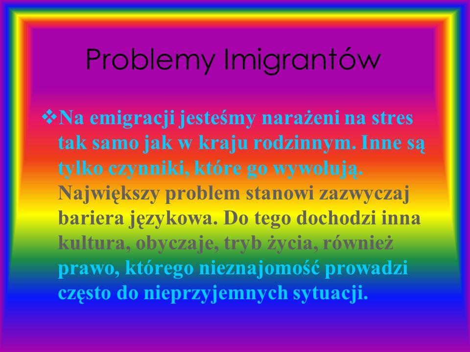 Problemy Imigrantów  Na emigracji jesteśmy narażeni na stres tak samo jak w kraju rodzinnym.