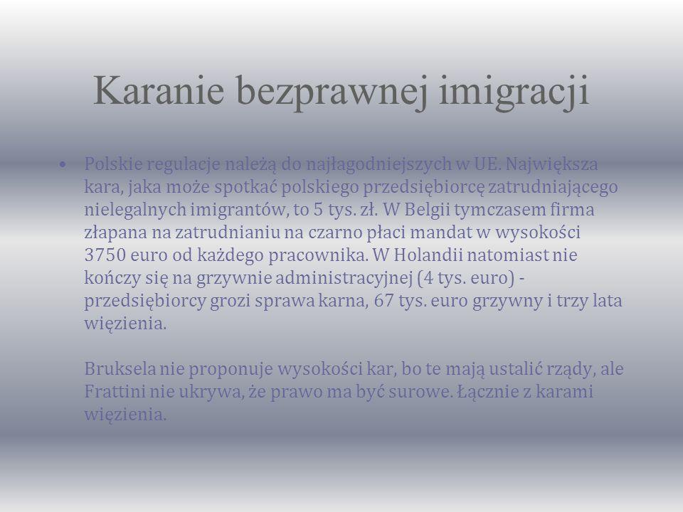 Karanie bezprawnej imigracji Polskie regulacje należą do najłagodniejszych w UE.