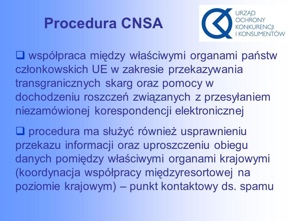 Procedura CNSA  współpraca między właściwymi organami państw członkowskich UE w zakresie przekazywania transgranicznych skarg oraz pomocy w dochodzeniu roszczeń związanych z przesyłaniem niezamówionej korespondencji elektronicznej  procedura ma służyć również usprawnieniu przekazu informacji oraz uproszczeniu obiegu danych pomiędzy właściwymi organami krajowymi (koordynacja współpracy międzyresortowej na poziomie krajowym) – punkt kontaktowy ds.