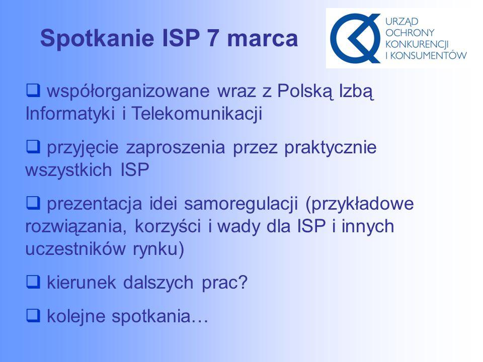 Spotkanie ISP 7 marca  współorganizowane wraz z Polską Izbą Informatyki i Telekomunikacji  przyjęcie zaproszenia przez praktycznie wszystkich ISP  prezentacja idei samoregulacji (przykładowe rozwiązania, korzyści i wady dla ISP i innych uczestników rynku)  kierunek dalszych prac.