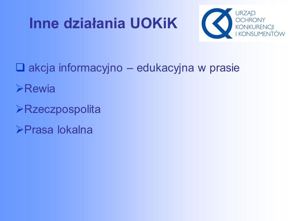 Inne działania UOKiK  akcja informacyjno – edukacyjna w prasie  Rewia  Rzeczpospolita  Prasa lokalna