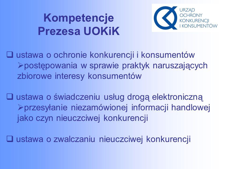 Kompetencje Prezesa UOKiK  ustawa o ochronie konkurencji i konsumentów  postępowania w sprawie praktyk naruszających zbiorowe interesy konsumentów  ustawa o świadczeniu usług drogą elektroniczną  przesyłanie niezamówionej informacji handlowej jako czyn nieuczciwej konkurencji  ustawa o zwalczaniu nieuczciwej konkurencji