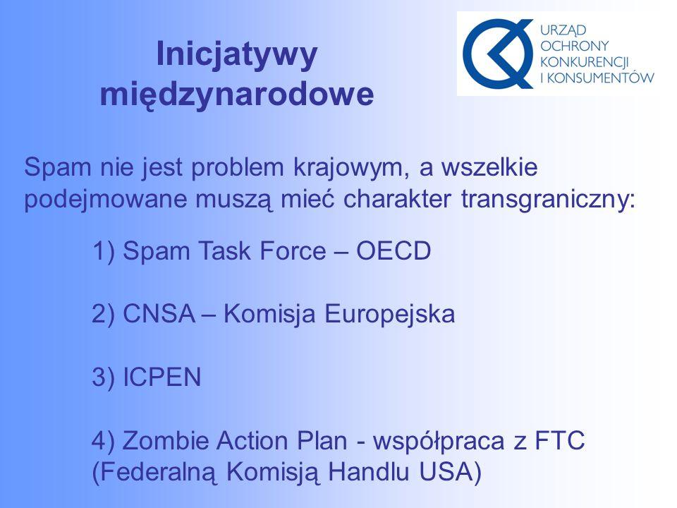 Inicjatywy międzynarodowe Spam nie jest problem krajowym, a wszelkie podejmowane muszą mieć charakter transgraniczny: 1) Spam Task Force – OECD 2) CNSA – Komisja Europejska 3) ICPEN 4) Zombie Action Plan - współpraca z FTC (Federalną Komisją Handlu USA)