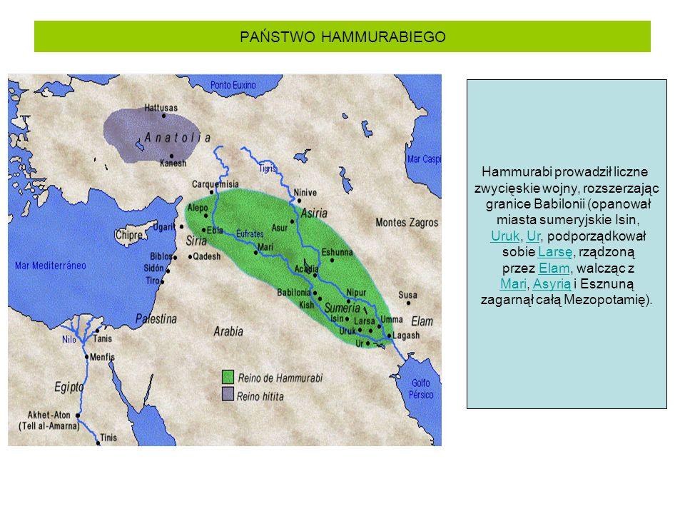 PAŃSTWO HAMMURABIEGO Hammurabi prowadził liczne zwycięskie wojny, rozszerzając granice Babilonii (opanował miasta sumeryjskie Isin, Uruk, Ur, podporzą