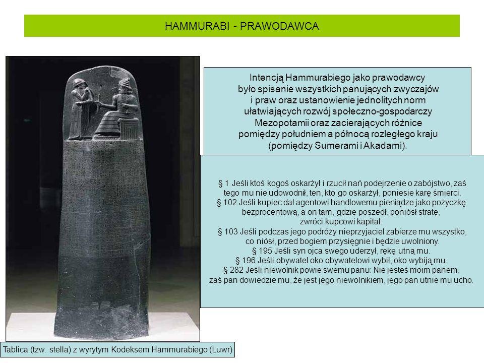 HAMMURABI - PRAWODAWCA Tablica (tzw. stella) z wyrytym Kodeksem Hammurabiego (Luwr) Intencją Hammurabiego jako prawodawcy było spisanie wszystkich pan