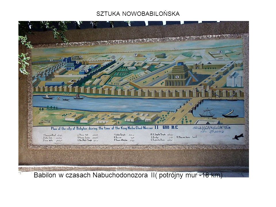 SZTUKA NOWOBABILOŃSKA Babilon w czasach Nabuchodonozora II( potrójny mur -18 km)