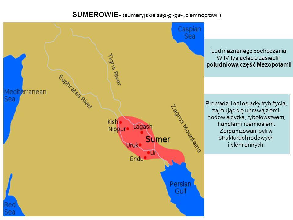"""SUMEROWIE- (sumeryjskie sag-gi-ga- """"ciemnogłowi"""") Lud nieznanego pochodzenia W IV tysiącleciu zasiedlił południową część Mezopotamii Prowadzili oni os"""