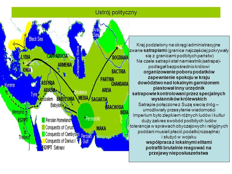 Ustrój polityczny Kraj podzielony na okręgi administracyjne zwane satrapiami (granice najczęściej pokrywały się z granicami podbitych państw) Na czele