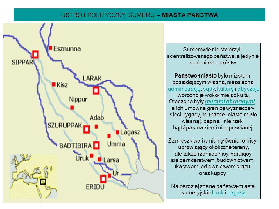 USTRÓJ POLITYCZNY SUMERU – MIASTA PAŃSTWA Sumerowie nie stworzyli scentralizowanego państwa, a jedynie sieć miast - państw Państwo-miasto było miastem