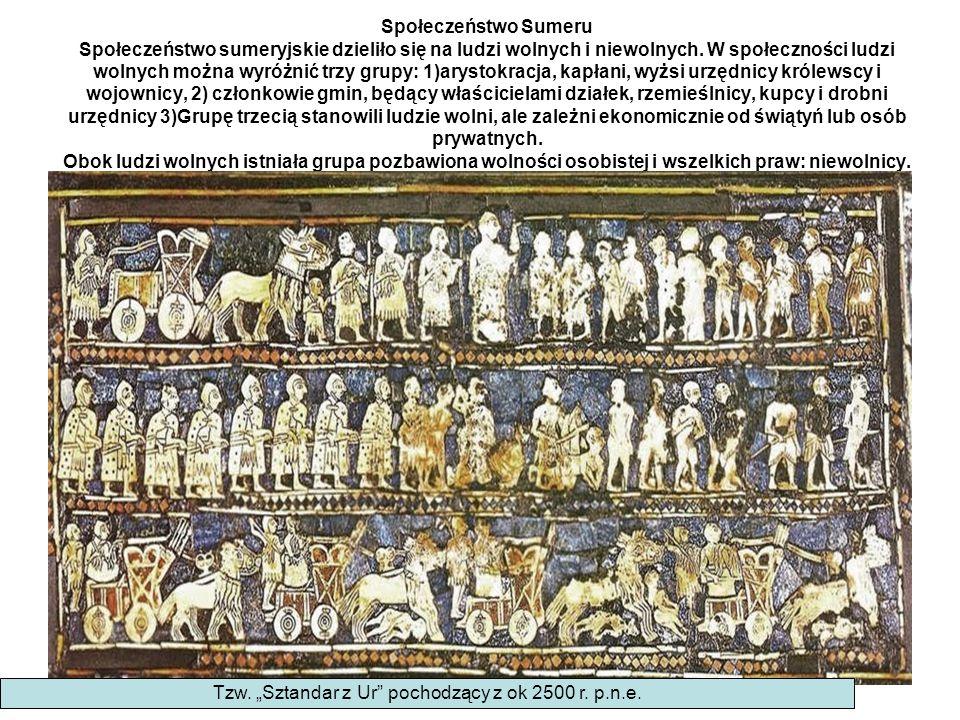 Społeczeństwo Sumeru Społeczeństwo sumeryjskie dzieliło się na ludzi wolnych i niewolnych. W społeczności ludzi wolnych można wyróżnić trzy grupy: 1)a