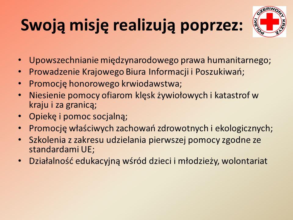 Swoją misję realizują poprzez: Upowszechnianie międzynarodowego prawa humanitarnego; Prowadzenie Krajowego Biura Informacji i Poszukiwań; Promocję hon