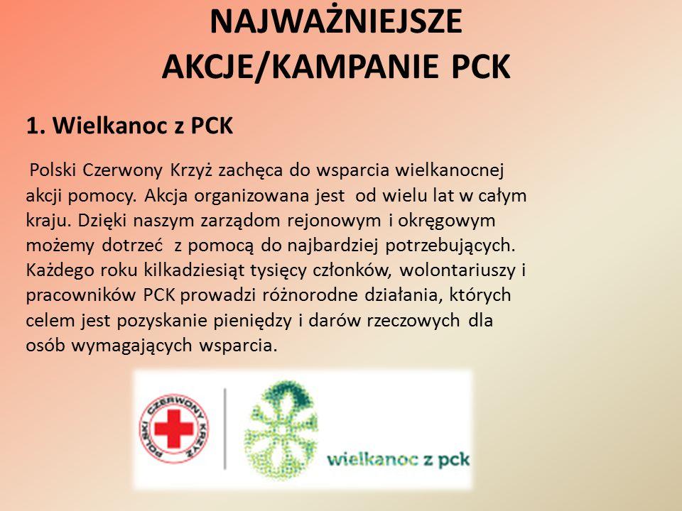 NAJWAŻNIEJSZE AKCJE/KAMPANIE PCK 1. Wielkanoc z PCK Polski Czerwony Krzyż zachęca do wsparcia wielkanocnej akcji pomocy. Akcja organizowana jest od wi
