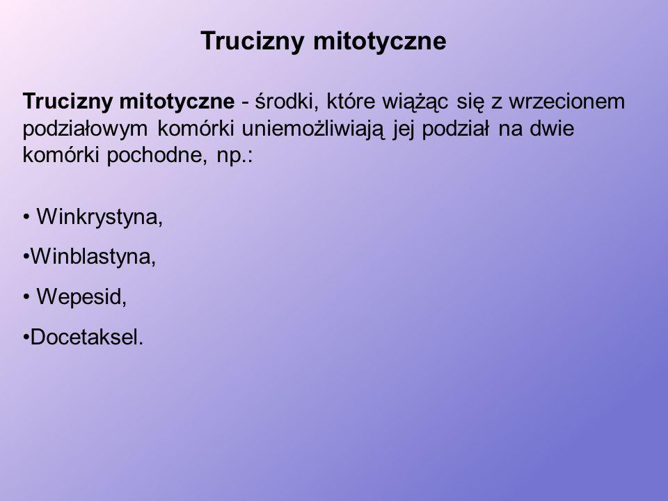 Trucizny mitotyczne - środki, które wiążąc się z wrzecionem podziałowym komórki uniemożliwiają jej podział na dwie komórki pochodne, np.: Winkrystyna, Winblastyna, Wepesid, Docetaksel.