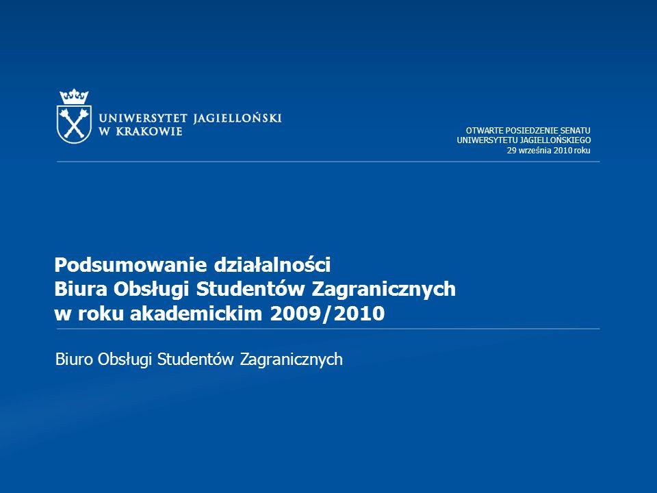Biuro Obsługi Studentów Zagranicznych Podsumowanie działalności Biura Obsługi Studentów Zagranicznych w roku akademickim 2009/2010 OTWARTE POSIEDZENIE SENATU UNIWERSYTETU JAGIELLOŃSKIEGO 29 września 2010 roku