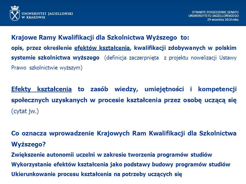 OTWARTE POSIEDZENIE SENATU UNIWERSYTETU JAGIELLOŃSKIEGO 29 września 2010 roku Krajowe Ramy Kwalifikacji dla Szkolnictwa Wyższego to: opis, przez określenie efektów kształcenia, kwalifikacji zdobywanych w polskim systemie szkolnictwa wyższego (definicja zaczerpnięta z projektu nowelizacji Ustawy Prawo szkolnictwie wyższym) Efekty kształcenia to zasób wiedzy, umiejętności i kompetencji społecznych uzyskanych w procesie kształcenia przez osobę uczącą się (cytat jw.) Co oznacza wprowadzenie Krajowych Ram Kwalifikacji dla Szkolnictwa Wyższego.