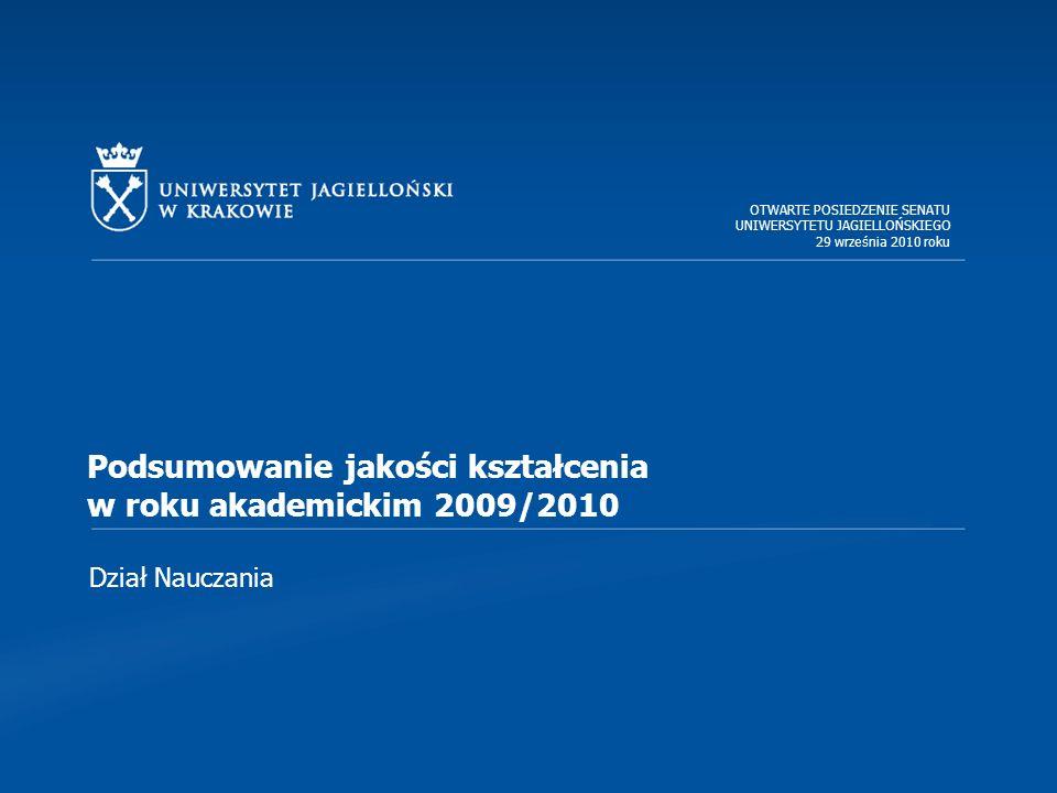 Dział Nauczania Podsumowanie jakości kształcenia w roku akademickim 2009/2010 OTWARTE POSIEDZENIE SENATU UNIWERSYTETU JAGIELLOŃSKIEGO 29 września 2010 roku