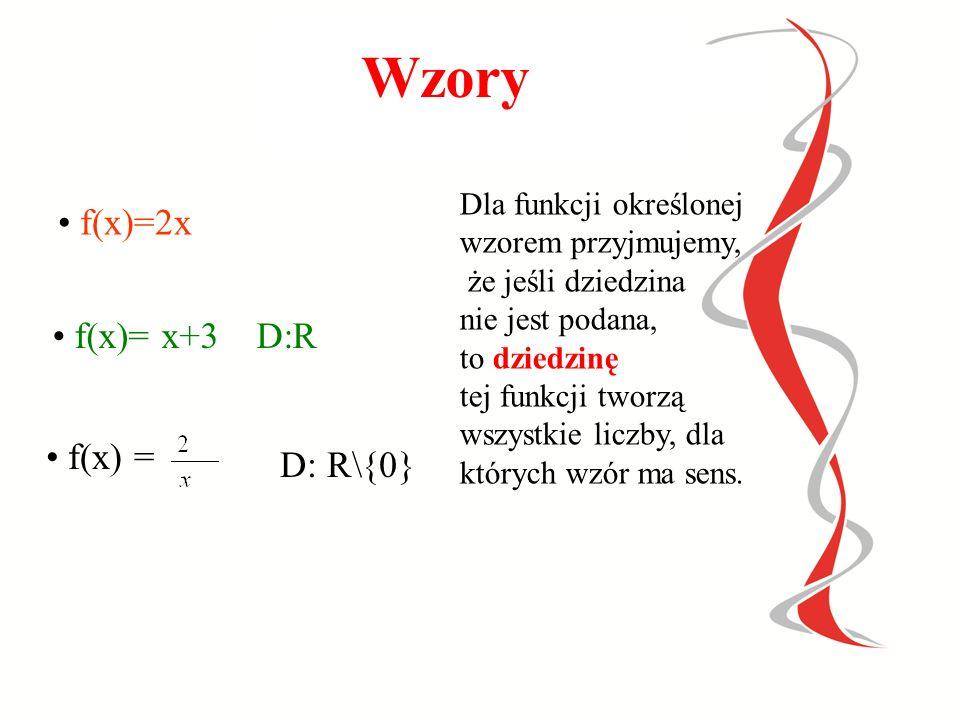 Wykres funkcji to zbiór punktów płaszczyzny postaci (x,f(x)), gdzie x-jest argumentem, a f(x)- odpowiednią wartością, zatem y=f(x) 12 3 -2-3 1 2 3 X Y Argumenty-(x) Wartości- y Wykres