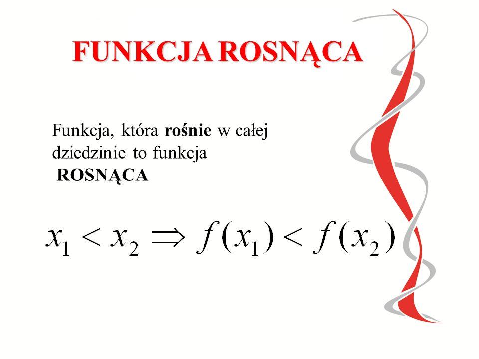 MONOTONICZNOŚĆ FUNKCJI Funkcja rosnąca Funkcja malejąca Funkcja stała Funkcje rosnące, malejące, nierosnące i niemalejące nazywamy funkcjami monotonicznymi