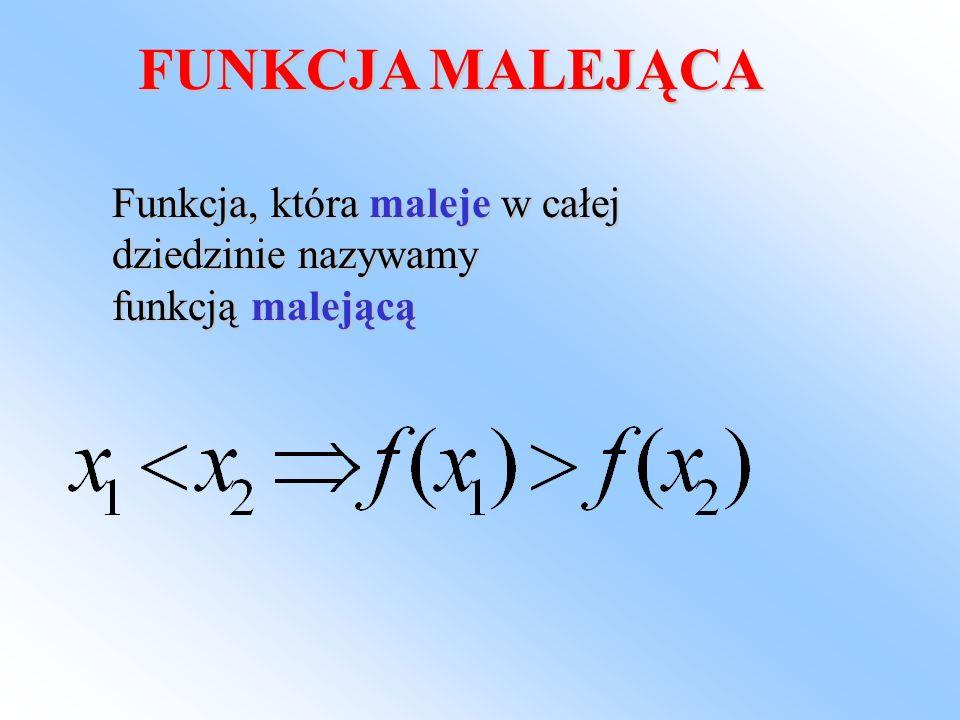 YX 1234 5 -2 1 2 3 dziedzina-oś X Wartości-oś Y f(1) = 1 f(2) = 2 f(3) = 3 f(-1) = -1 argumenty -rosną Wartości - rosną Jest to funkcja rosnąca