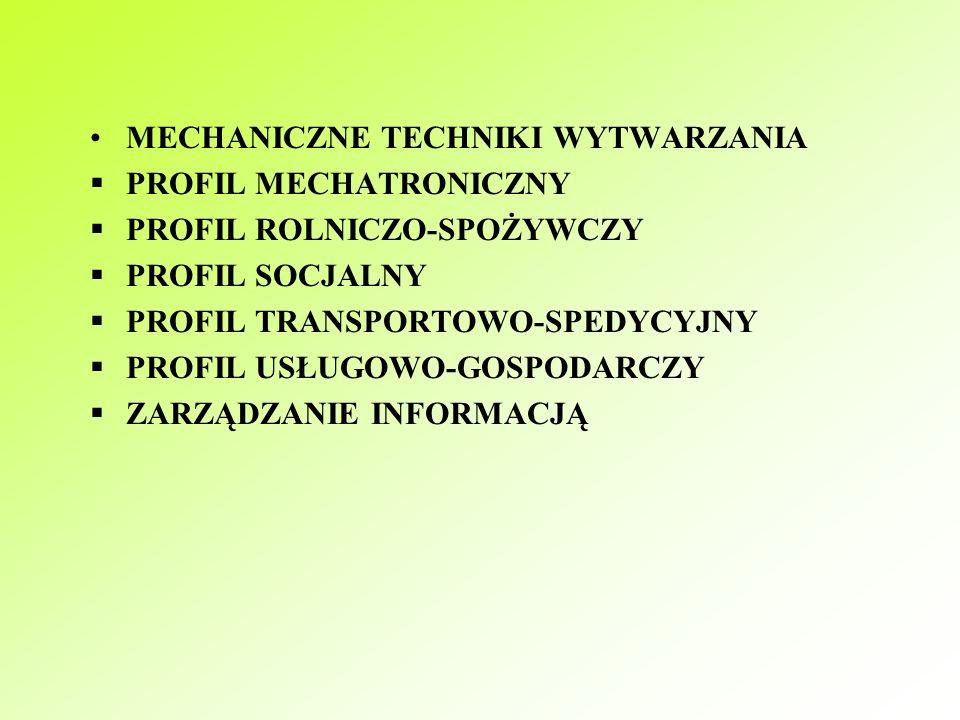 PROFILE W LICEACH PROFILOWANYCH  CHEMICZNE BADANIE ŚRODOWISKA  PROFIL EKONOMICZNO-ADMINISTRACYJNY  PROFIL ELEKTRONICZNY  PROFIL ELEKTROTECHNICZNY  KREOWANIE UBIORÓW  KSZTAŁTOWANIE ŚRODOWISKA