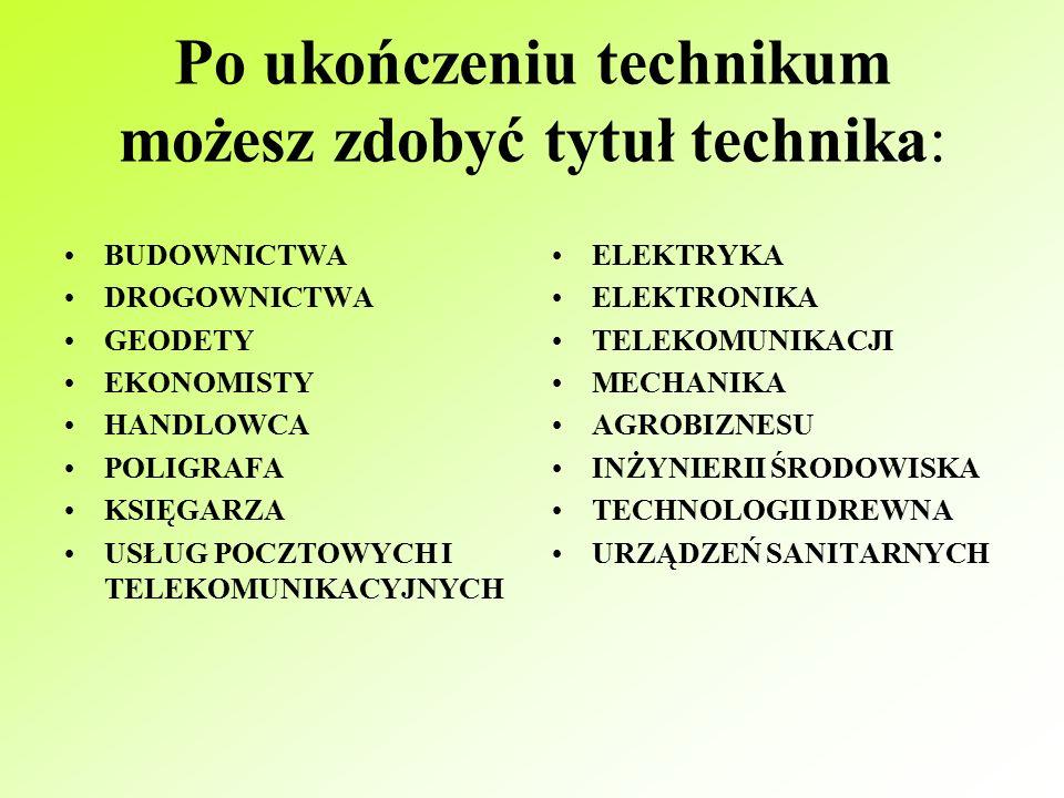 Technikum Kształcąc się w technikum po czterech latach nauki będziesz mógł/mogła przystąpić do egzaminu maturalnego oraz do egzaminu z przygotowania zawodowego.
