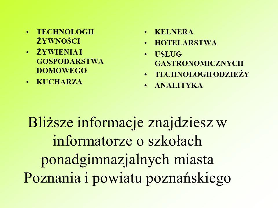 Po ukończeniu technikum możesz zdobyć tytuł technika: BUDOWNICTWA DROGOWNICTWA GEODETY EKONOMISTY HANDLOWCA POLIGRAFA KSIĘGARZA USŁUG POCZTOWYCH I TELEKOMUNIKACYJNYCH ELEKTRYKA ELEKTRONIKA TELEKOMUNIKACJI MECHANIKA AGROBIZNESU INŻYNIERII ŚRODOWISKA TECHNOLOGII DREWNA URZĄDZEŃ SANITARNYCH
