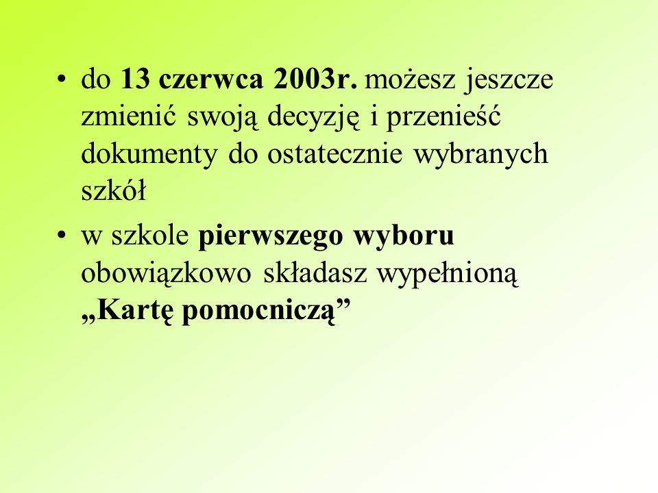 """na """"Karcie pomocniczej , którą dostaniesz w gimnazjum lub znajdziesz na stronie internetowej Kuratorium Oświaty w Poznaniu, otrzymujesz pieczątkę potwierdzającą przyjęcie dokumentów w szkole podobnie postępujesz w szkole drugiego i pierwszego wyboru"""
