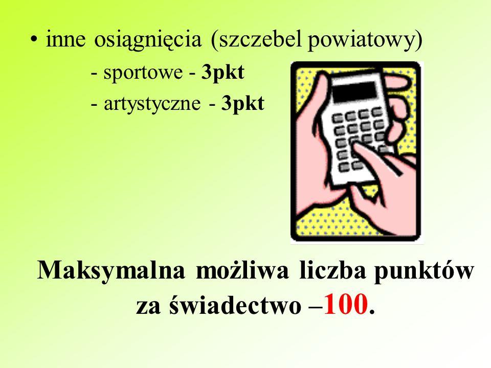 świadectwo z wyróżnieniem 10pkt ocena zachowania - wzorowe - 6pkt - dobre - 4pkt udział w konkursach na szczeblu wojewódzkim - 3 konkursy x 6pkt - max 18pkt