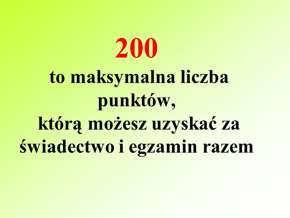 Punkty za egzamin gimnazjalny część humanistyczna – max 50pkt część matematyczno-przyrodnicza - max 50pkt Razem 100 punktów