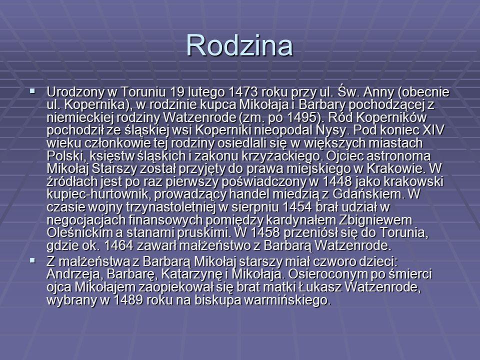Rodzina  Urodzony w Toruniu 19 lutego 1473 roku przy ul. Św. Anny (obecnie ul. Kopernika), w rodzinie kupca Mikołaja i Barbary pochodzącej z niemieck