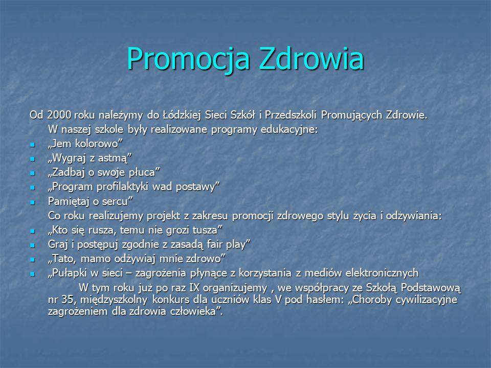 Promocja Zdrowia Od 2000 roku należymy do Łódzkiej Sieci Szkół i Przedszkoli Promujących Zdrowie.