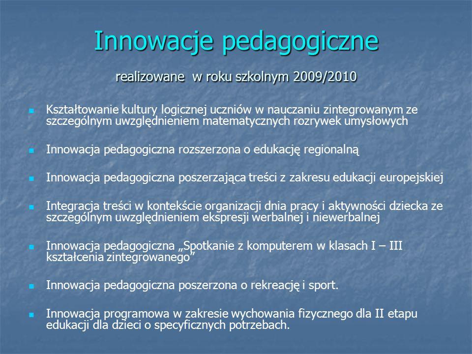 """Innowacje pedagogiczne realizowane w roku szkolnym 2009/2010 Kształtowanie kultury logicznej uczniów w nauczaniu zintegrowanym ze szczególnym uwzględnieniem matematycznych rozrywek umysłowych Innowacja pedagogiczna rozszerzona o edukację regionalną Innowacja pedagogiczna poszerzająca treści z zakresu edukacji europejskiej Integracja treści w kontekście organizacji dnia pracy i aktywności dziecka ze szczególnym uwzględnieniem ekspresji werbalnej i niewerbalnej Innowacja pedagogiczna """"Spotkanie z komputerem w klasach I – III kształcenia zintegrowanego Innowacja pedagogiczna poszerzona o rekreację i sport."""