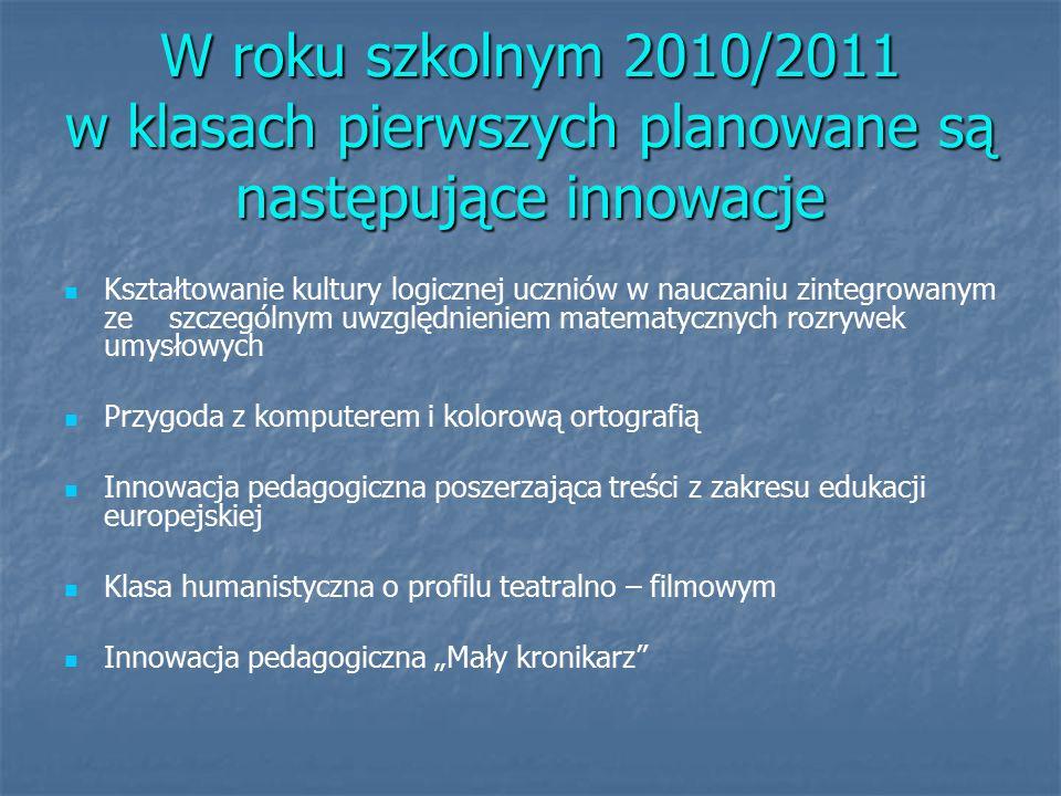 """W roku szkolnym 2010/2011 w klasach pierwszych planowane są następujące innowacje Kształtowanie kultury logicznej uczniów w nauczaniu zintegrowanym ze szczególnym uwzględnieniem matematycznych rozrywek umysłowych Przygoda z komputerem i kolorową ortografią Innowacja pedagogiczna poszerzająca treści z zakresu edukacji europejskiej Klasa humanistyczna o profilu teatralno – filmowym Innowacja pedagogiczna """"Mały kronikarz"""