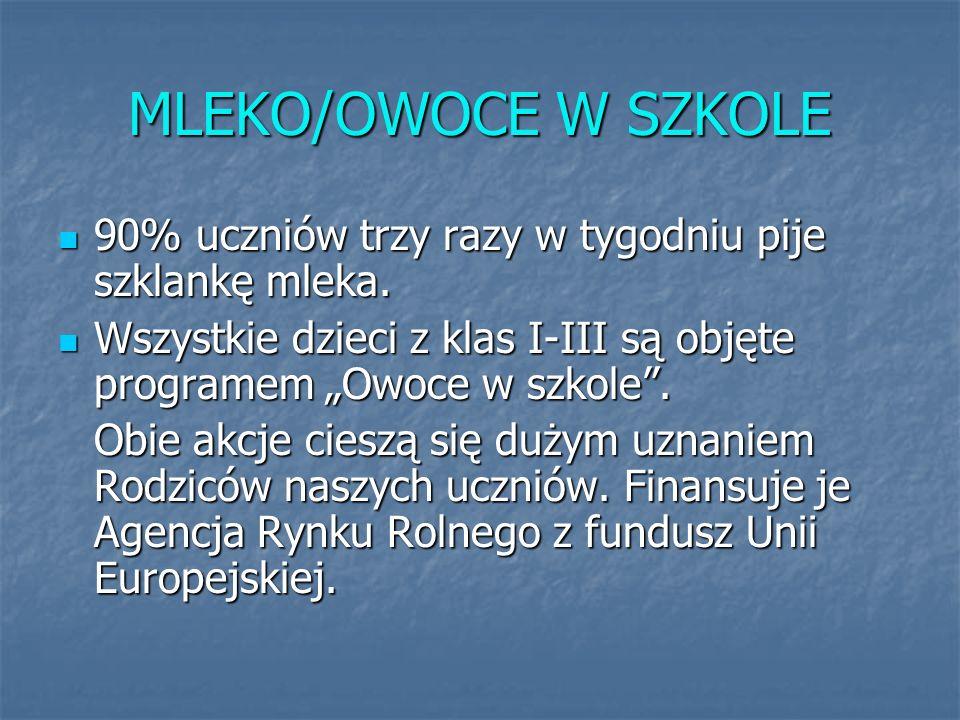 MLEKO/OWOCE W SZKOLE 90% uczniów trzy razy w tygodniu pije szklankę mleka.