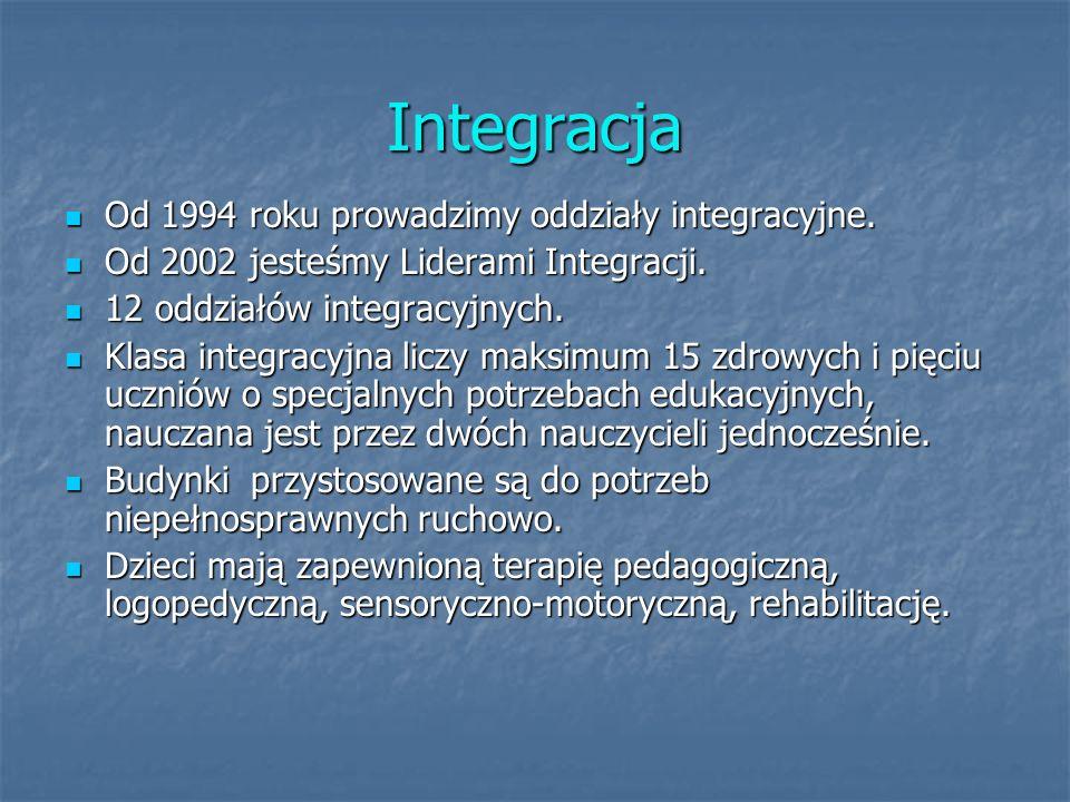 Integracja Od 1994 roku prowadzimy oddziały integracyjne.