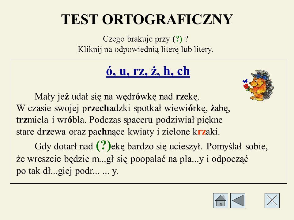 TEST ORTOGRAFICZNY Czego brakuje przy (?) . Kliknij na odpowiednią literę lub litery.