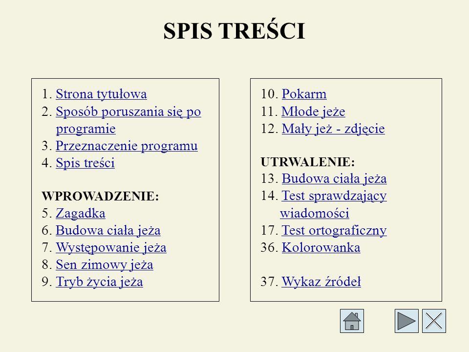 SPIS TREŚCI 1.Strona tytułowaStrona tytułowa 2.
