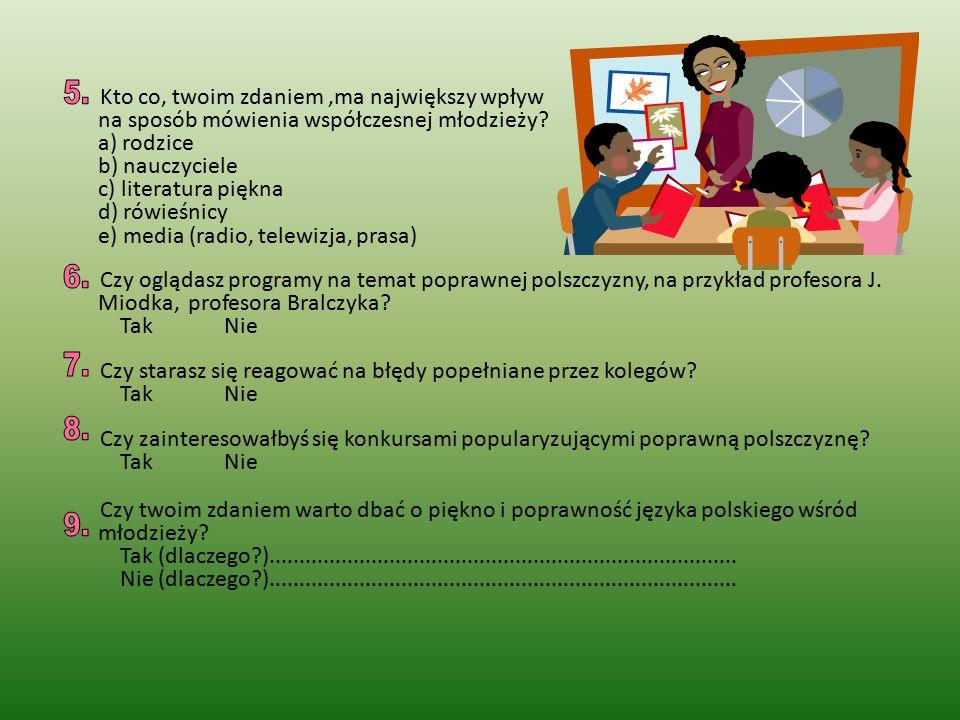 Kto co, twoim zdaniem,ma największy wpływ na sposób mówienia współczesnej młodzieży? a) rodzice b) nauczyciele c) literatura piękna d) rówieśnicy e) m