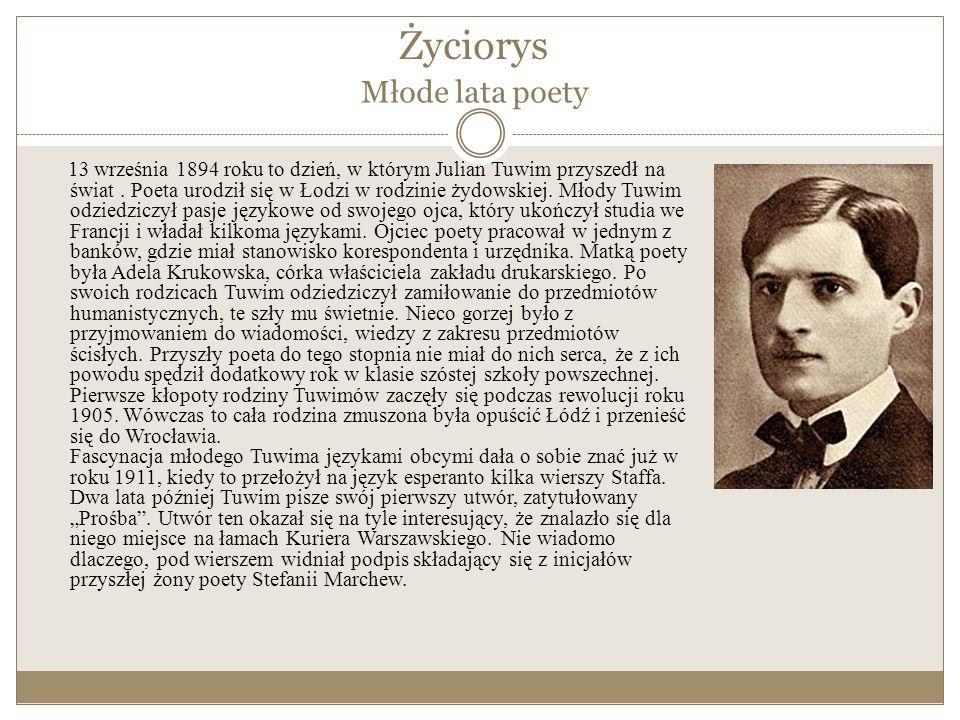 Życiorys 13 września 1894 roku to dzień, w którym Julian Tuwim przyszedł na świat.