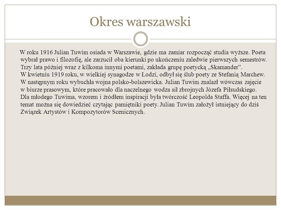 Okres warszawski W roku 1916 Julian Tuwim osiada w Warszawie, gdzie ma zamiar rozpocząć studia wyższe.
