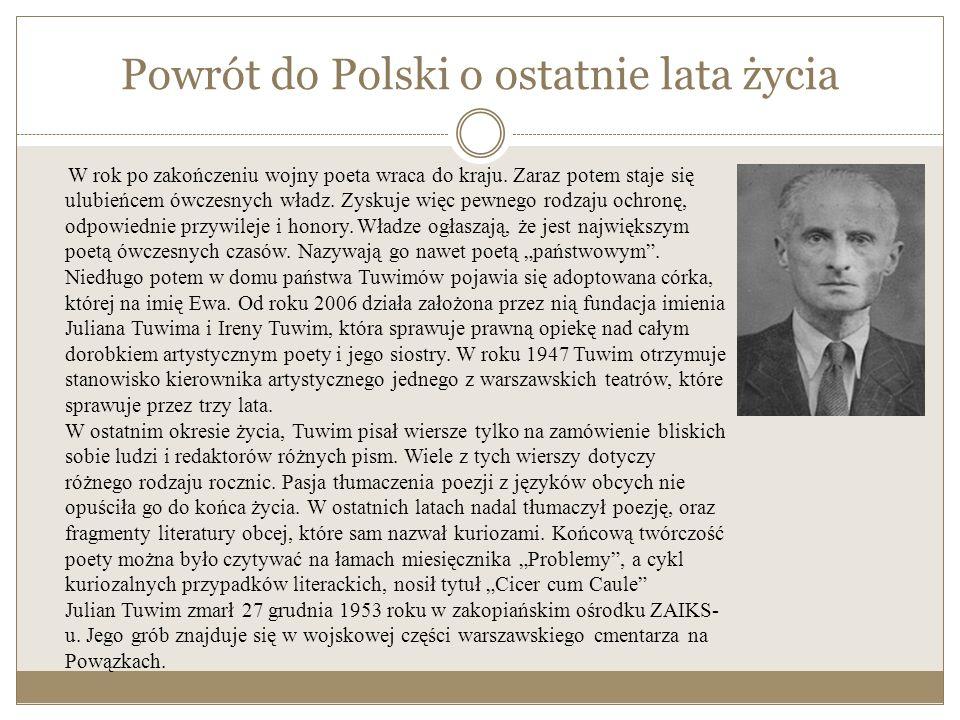Na obczyźnie Okres warszawski kończy się dla poety w roku 1939 kiedy to opuszcza Polskę i przez Rumunię i Włochy dociera do Francji.