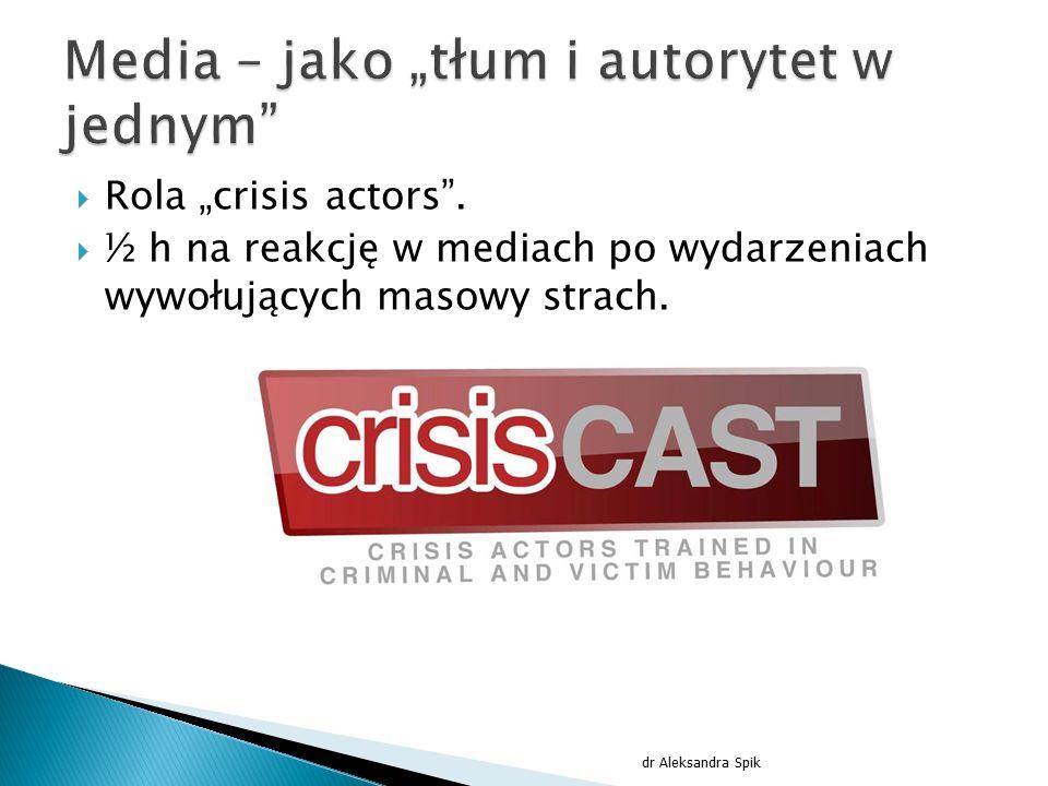 """ Rola """"crisis actors"""".  ½ h na reakcję w mediach po wydarzeniach wywołujących masowy strach. dr Aleksandra Spik"""