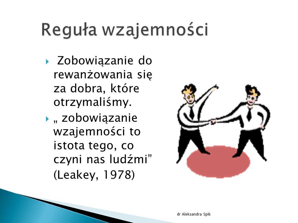 """ Zobowiązanie do rewanżowania się za dobra, które otrzymaliśmy.  """" zobowiązanie wzajemności to istota tego, co czyni nas ludźmi"""" (Leakey, 1978) dr A"""