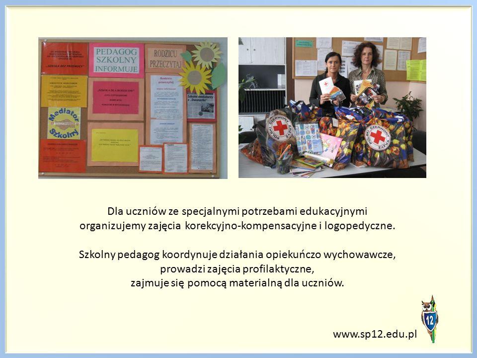 Dla uczniów ze specjalnymi potrzebami edukacyjnymi organizujemy zajęcia korekcyjno-kompensacyjne i logopedyczne. Szkolny pedagog koordynuje działania