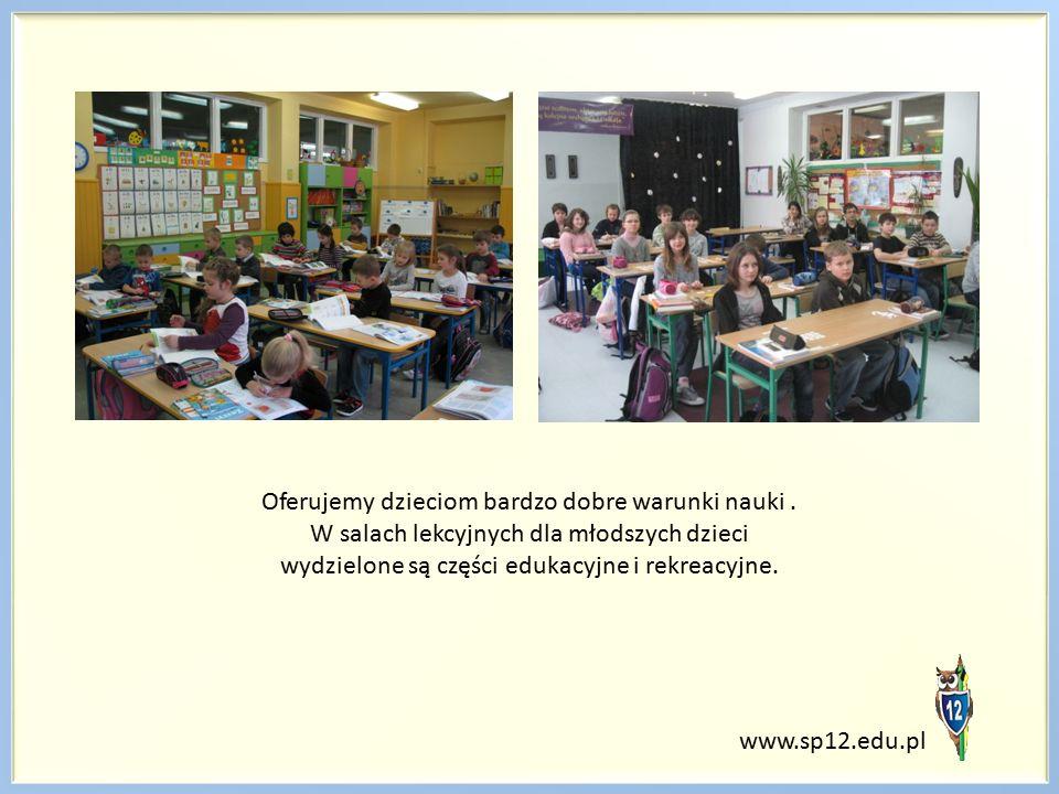 Oferujemy dzieciom bardzo dobre warunki nauki. W salach lekcyjnych dla młodszych dzieci wydzielone są części edukacyjne i rekreacyjne. www.sp12.edu.pl