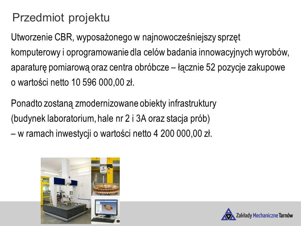 Przedmiot projektu Utworzenie CBR, wyposażonego w najnowocześniejszy sprzęt komputerowy i oprogramowanie dla celów badania innowacyjnych wyrobów, aparaturę pomiarową oraz centra obróbcze – łącznie 52 pozycje zakupowe o wartości netto 10 596 000,00 zł.