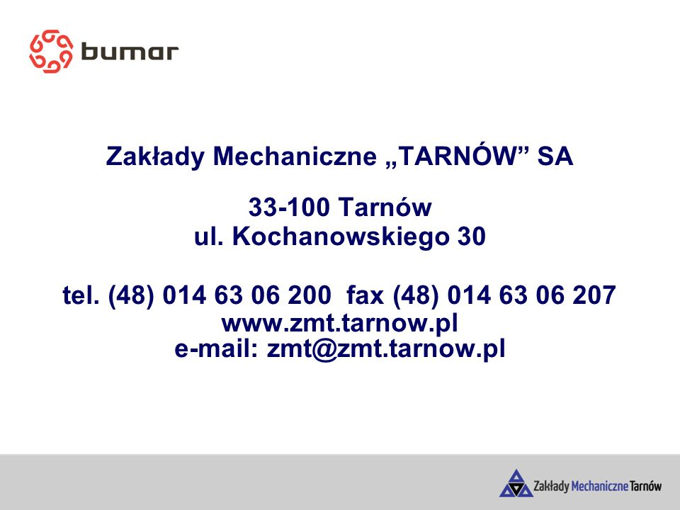 """Zakłady Mechaniczne """"TARNÓW SA 33-100 Tarnów ul. Kochanowskiego 30 tel."""