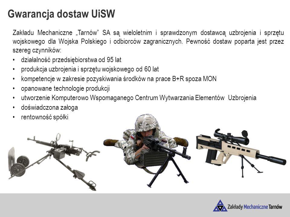 """Gwarancja dostaw UiSW Zakładu Mechaniczne """"Tarnów SA są wieloletnim i sprawdzonym dostawcą uzbrojenia i sprzętu wojskowego dla Wojska Polskiego i odbiorców zagranicznych."""